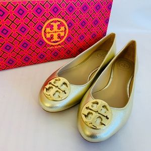 Tory Burch NIB CLAIRE BALLET SPARKLE GOLD Leather